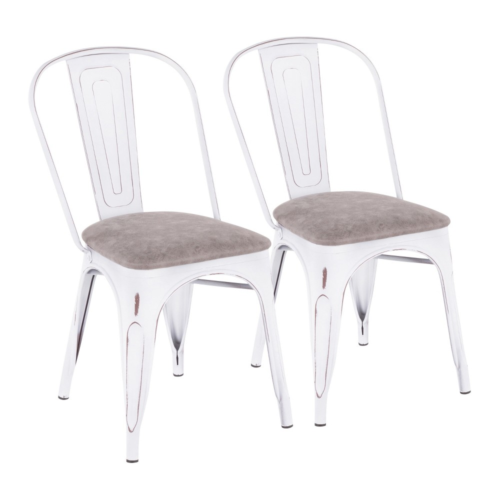 Set of 2 Oregon Industrial Upholstered Chairs Vintage White/Gray - LumiSource