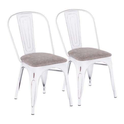 Set of 2 Oregon Industrial Upholstered Chairs Vintage White/Gray - LumiSource - image 1 of 4