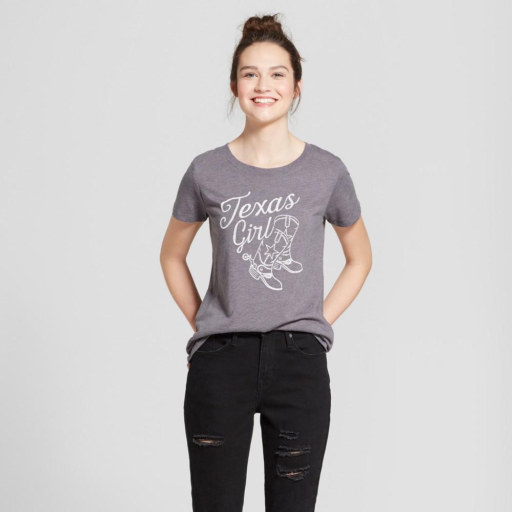 Women's Texas Girl Cowboy Boots Short Sleeve Scoop Neck Graphic T-Shirt - Awake Gray XL