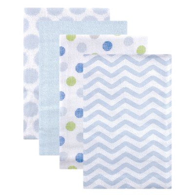 Luvable Friends Baby Boy Cotton Flannel Receiving Blankets, Blue Dots, One Size