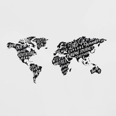 Map Removable Wall Decal Black - Room Essentials™