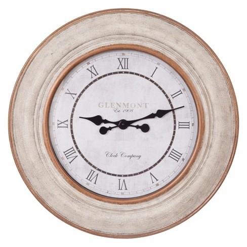 "30"" Distressed Roman Numeral Wall Clock White - Patton Wall Decor - image 1 of 4"