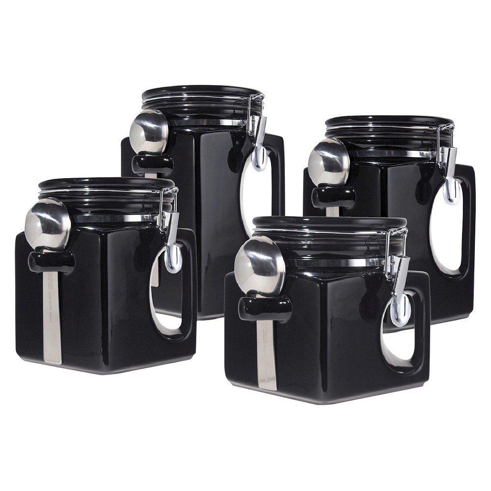 Image of Oggi 4 Piece EZ Grip Airtight Ceramic Canisters with Stainless Steel Spoons - Black