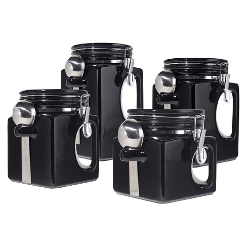 Oggi 4 Piece EZ Grip Airtight Ceramic Canisters with Stainless Steel Spoons - Black - image 1 of 1