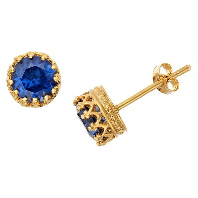 6mm Round-cut Sapphire Crown Earrings in Gold Over Silver