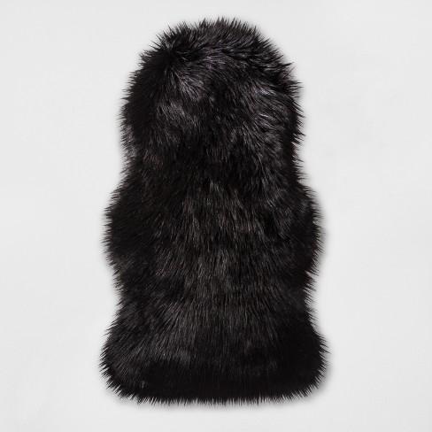Super Luxury Faux Fur Fabric Material BLACK PELT