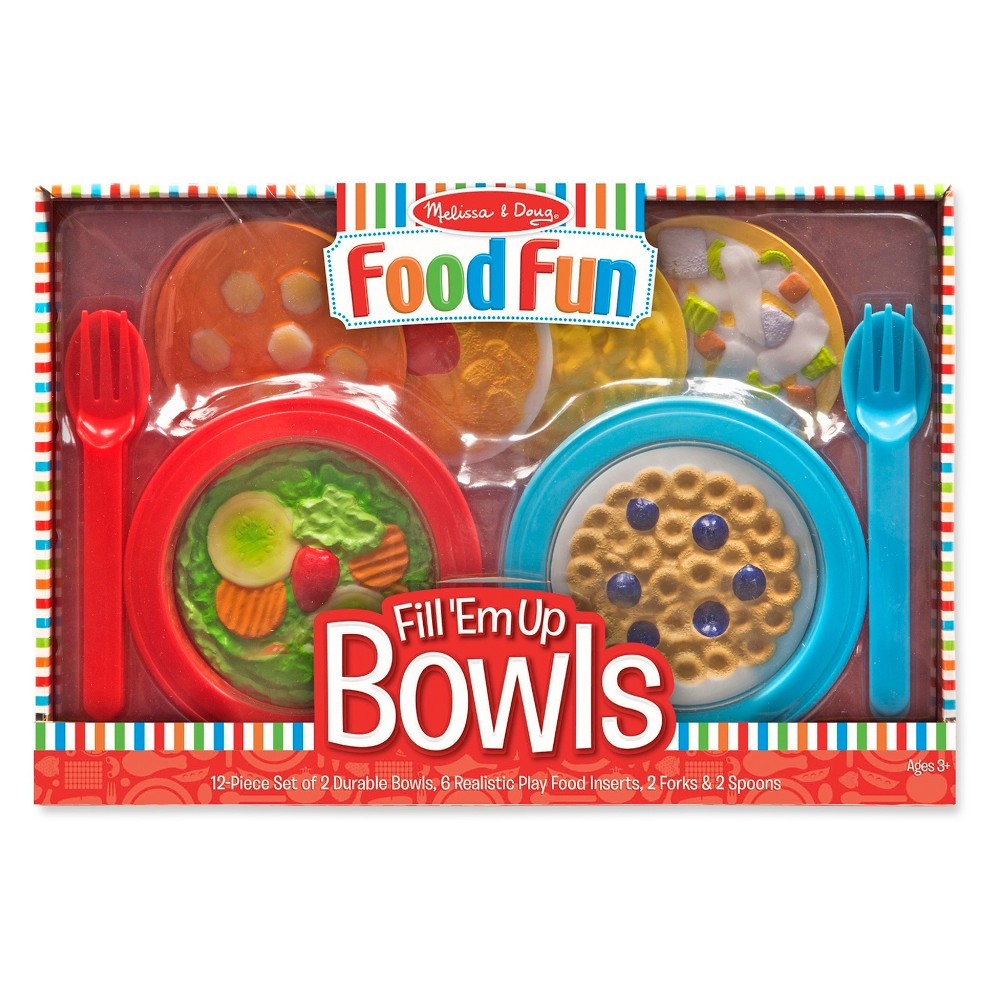 Melissa & Doug Create-A-Meal Fill Em Up Bowls (12pc) - Play Food and Kitchen Accessories