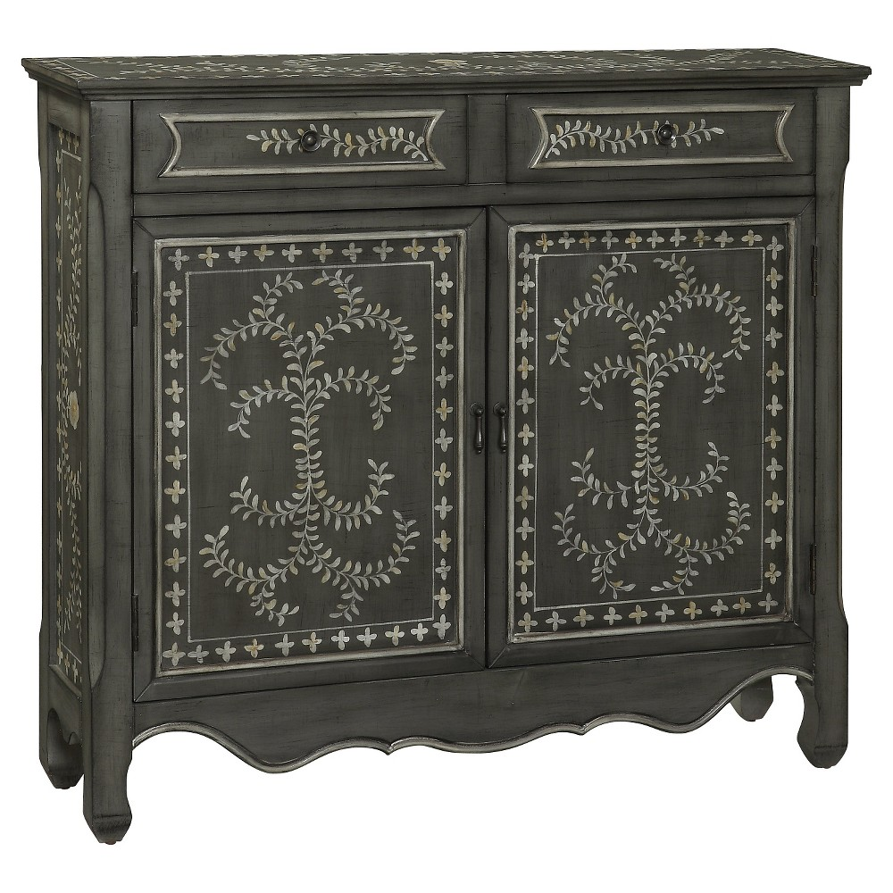 Storage Cabinet Two Door With Drawer Mirrored - Christopher Knight Home, Gray