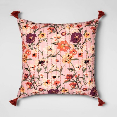 Oversized Square Stitched Floral Print Throw Pillow Purple - Opalhouse™