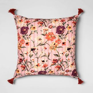 Stitched Floral Print Oversized Square Throw Pillow Purple  - Opalhouse™