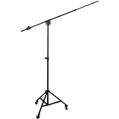 """LyxPro Professional Microphone Stand Heavy Duty 90"""" Studio Overhead Boom Stand with Rolling Caster Wheels, 87"""" Extra Long Telescoping Arm Mount, Foldable Tripod Legs & Adjustable Counterweight"""