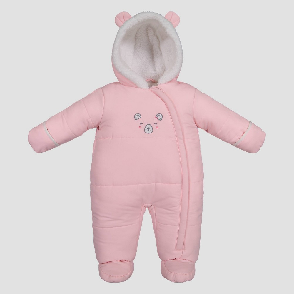 Image of Baby Girls' Bear Snowsuit - Just One You made by carter's Pink Light Pink 3 M, Girl's, Size: 3M