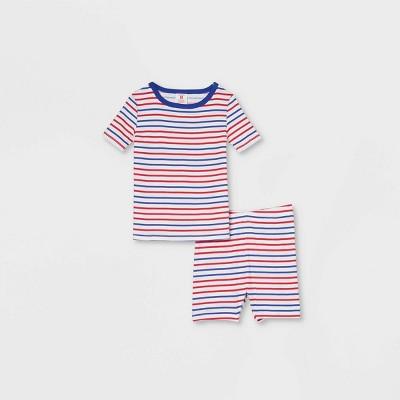 Toddler Americana Striped Matching Family Pajama Set - White