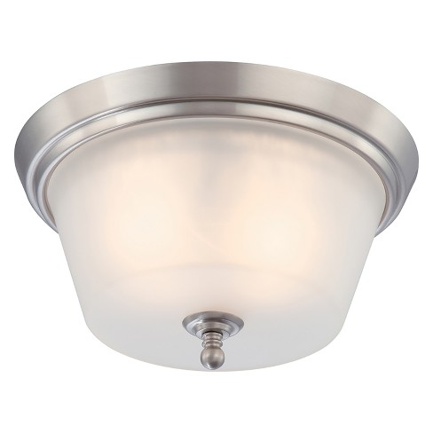 Aurora Lighting 2 Light Brushed Flush Mount Ceiling Lights Nickel - image 1 of 1