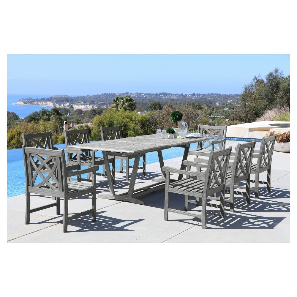 Renaissance 9pc Outdoor Hand-scraped Hardwood Dining Set with Rectangle Extension Table and Arm Chairs, Gray