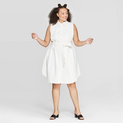 Women's Plus Size Sleeveless Collared Midi A Line Shirtdress   Who What Wear White by Who What Wear White