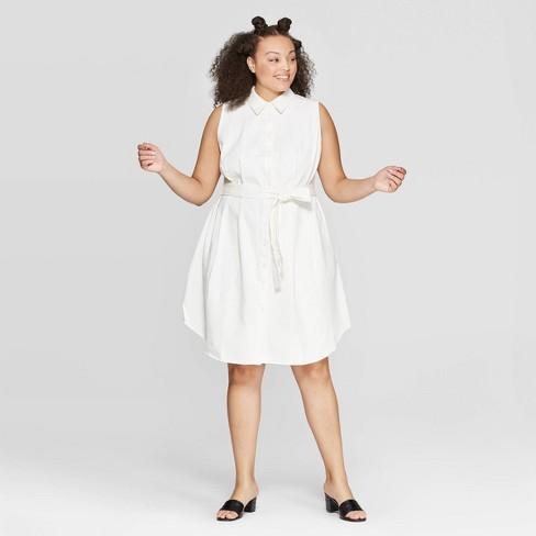 Women\'s Plus Size Sleeveless Collared Midi A Line Shirtdress - Who What  Wear™ White