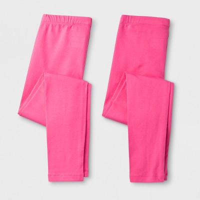 Girls' Solid 2pk  Leggings - Cat & Jack™ Pink