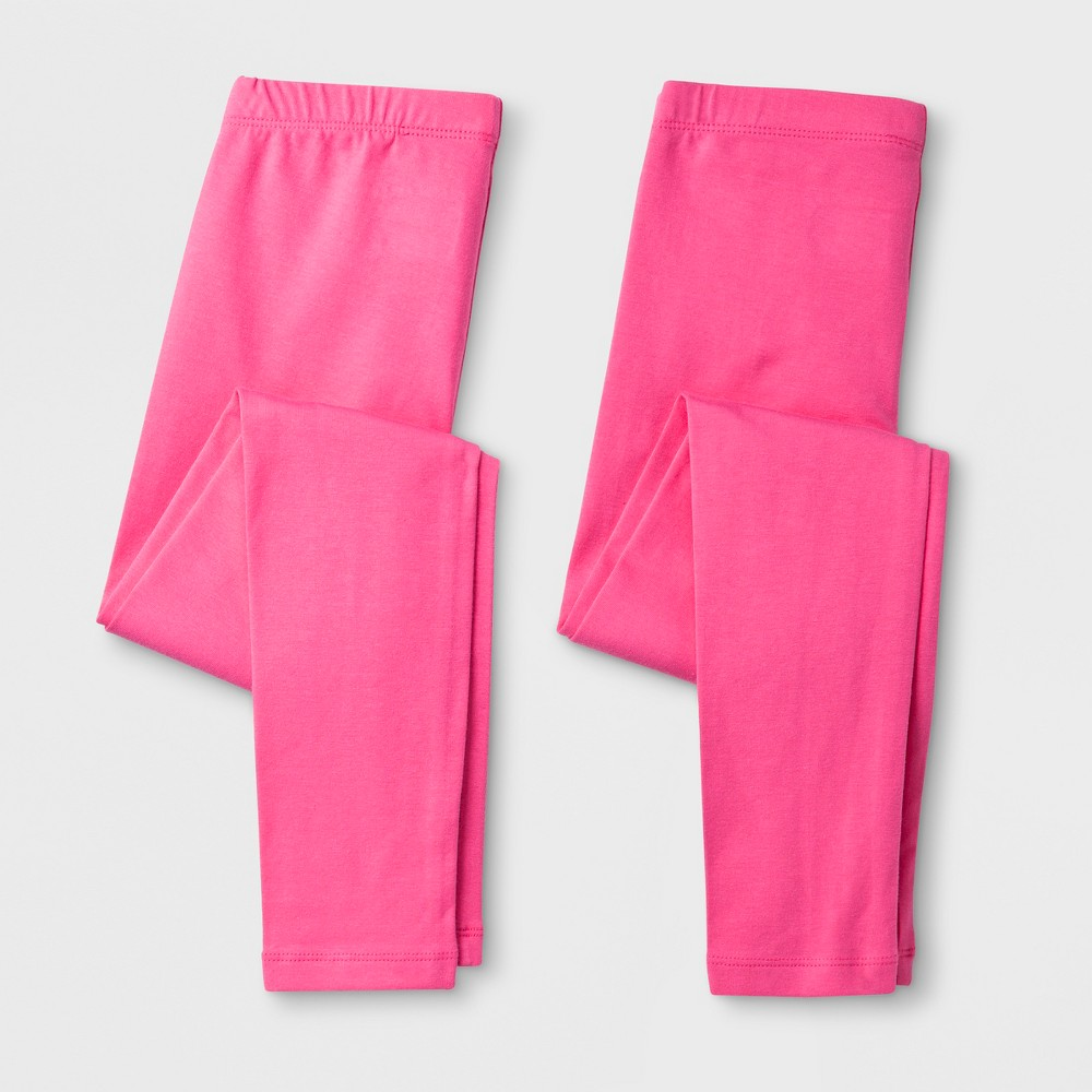 Girls' Solid 2pk Leggings - Cat & Jack Pink Xxl