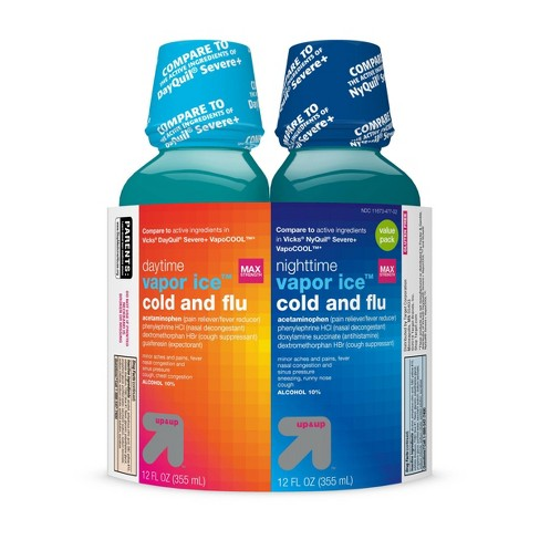 Acetaminophen Day/Night Time Vapor Ice Cold and Flu Relief Liquid - 2ct/24 fl oz Total - Up&Up™ - image 1 of 4