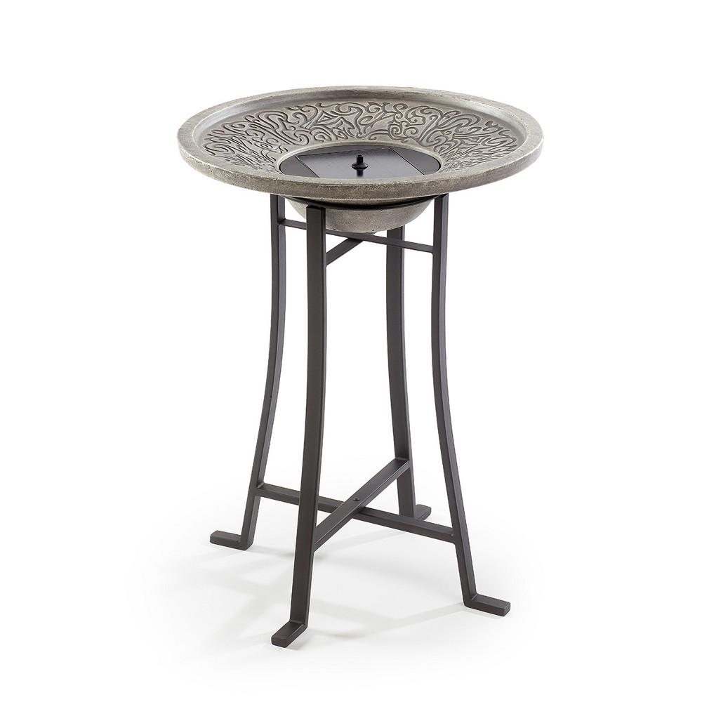 28.3 H Concrete Perello Solar Birdbath - Gray - Smart Living