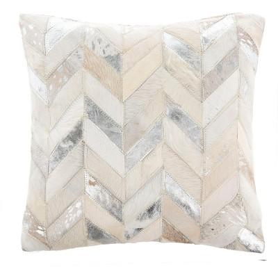 "Brea Metallic Cowhide Pillow- Silver - 20"" x 20"" - Safavieh"