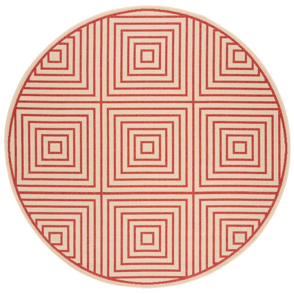6'7 Geometric Loomed Round Area Rug Red/Cream (Red/Ivory) - Safavieh