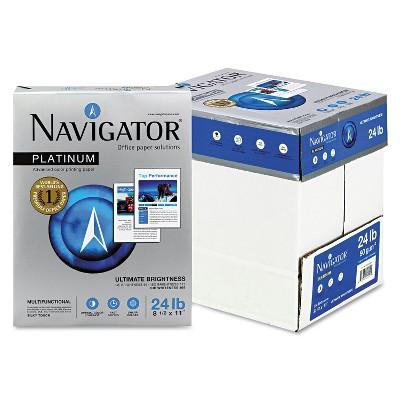 Navigator Platinum Paper 99 Brightness 24lb 8-1/2 x 11 White 2500/Carton NPL11245R