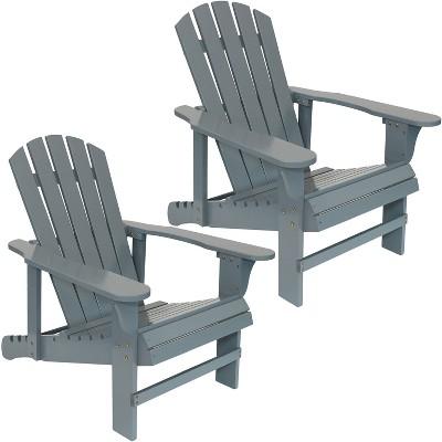 Sunnydaze Outdoor Natural Fir Wood Lounge Adirondack Chair with Adjustable Backrest Set - Gray - 2pk