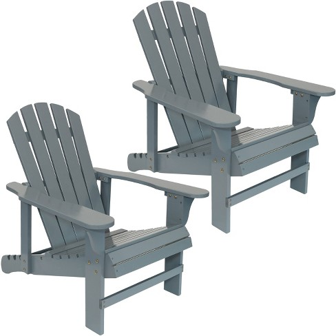 Terrific 2Pk Wooden Adirondack Chair With Adjustable Backrest Gray Sunnydaze Decor Gmtry Best Dining Table And Chair Ideas Images Gmtryco
