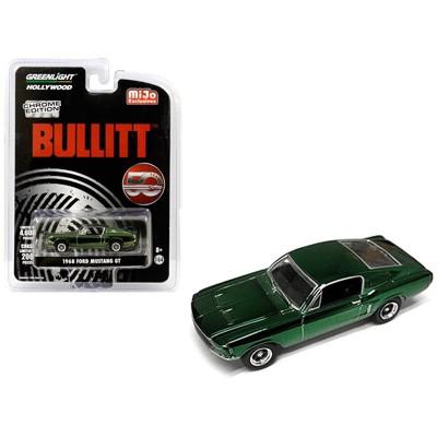 "1968 Ford Mustang GT Chrome Green ""Bullitt"" (1968) Movie ""50 Years Anniversary"" Ltd Ed 4,600 pcs 1/64 Diecast Greenlight"