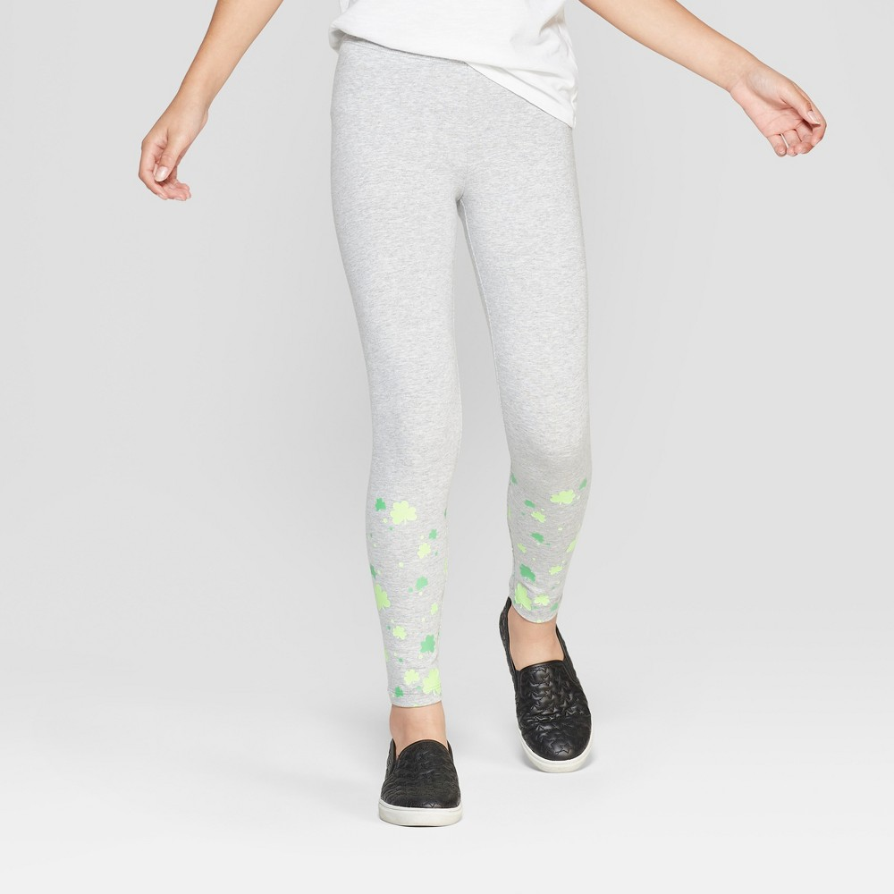 Girls' Shamrock Leggings - Cat & Jack Gray XL