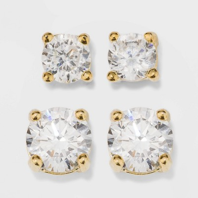 Gold Over Sterling Silver Round Cubic Zirconia Stud Fine Jewelry Earring Set 2pc - A New Day™ Gold/Clear