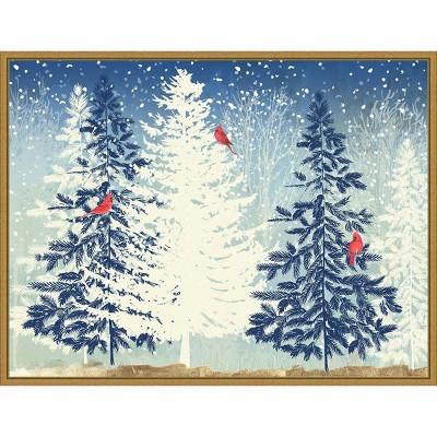 "24"" x 18"" Snow Christmas Trees by PI Studio Framed Canvas Wall Art - Amanti Art"