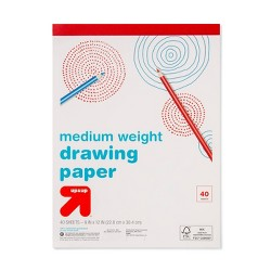"9"" x 12"" Medium Weight Drawing Paper 40 Sheets White - Up&Up™"