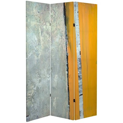 """6"""" Double Sided Birch Grove Canvas Room Divider Gray - Oriental Furniture"""