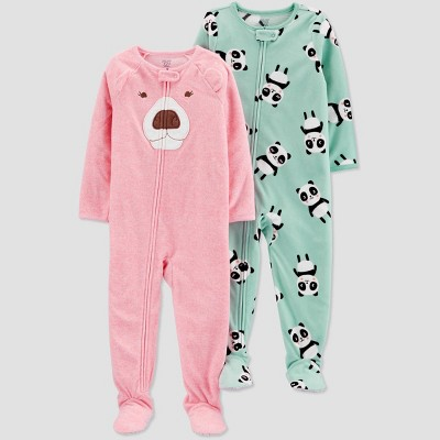 Baby Girls' Bear Fleece One Piece Pajama - Just One You® made by carter's Pink 9M