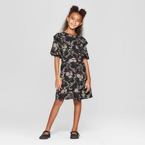 Girls Short Sleeve Ruffle Dress Art Class Black Target