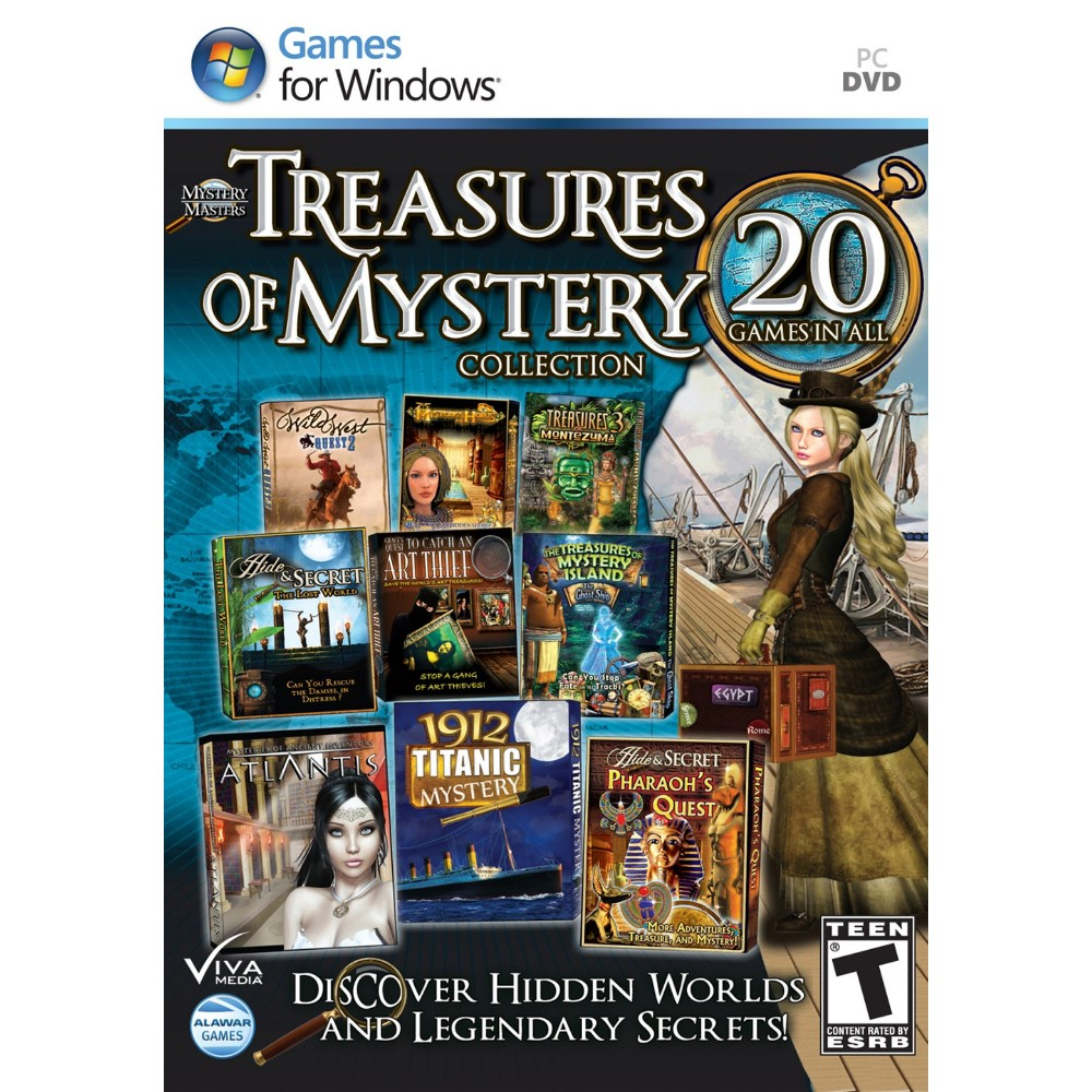 Treasures of Mystery Collection - PC Games The Masterpiece of Mystery Collection features 15 games of Mystery! Solve cases, investigate crimes, and take on strange puzzles in this collection of the bizarre, unexplained, and mysterious ... Includes: Titanic, Snarkbusters 3, Magic Encyclopedia: Upside Down Hide and Secret 3, Hide and Secret 4, Wild West Quest 2, Treasures of Montezuma 3, Treasures of Mystery Island 3: Ghost Ship, Beyond the Legends, and more!