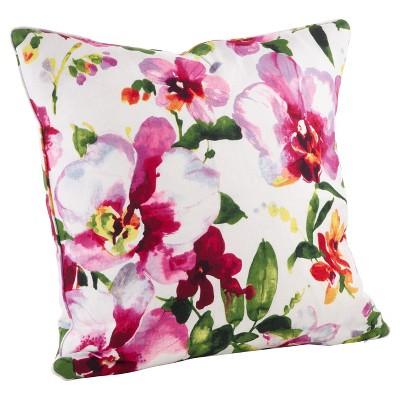 """Watercolor Floral Print Throw Pillow (20"""") - Saro Lifestyle"""