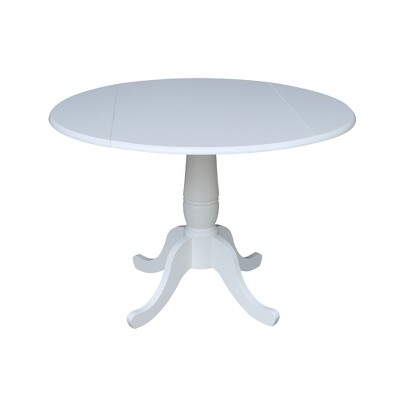 "42"" Patsy Round Top Dual Drop Leaf Table White - International Concepts"