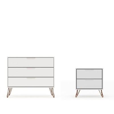 Rockefeller Dresser and Nightstand Set White - Manhattan Comfort