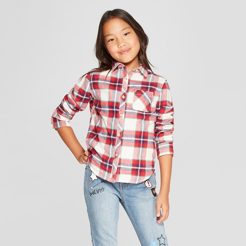Girls' Long Sleeve Woven Button-Down Shirt - Cat & Jack™ Almond Cream - image 1 of 3
