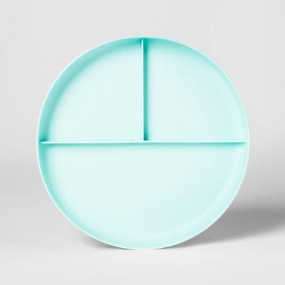 7.3  Plastic Divided Kids Plate Light Blue - Pillowfort™