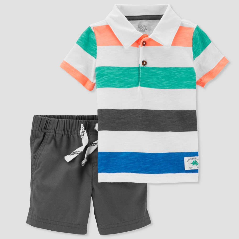 Baby Boys' 2pc Stripe Polo and Shorts Set - Just One You made by carter's Blue/Black 18M
