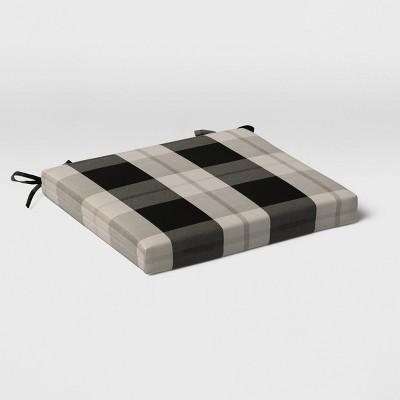 Woven Plaid Outdoor Seat Cushion DuraSeason Fabric™ Black - Threshold™