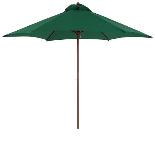 9' Round Wood Patio Umbrella - Hunter Green