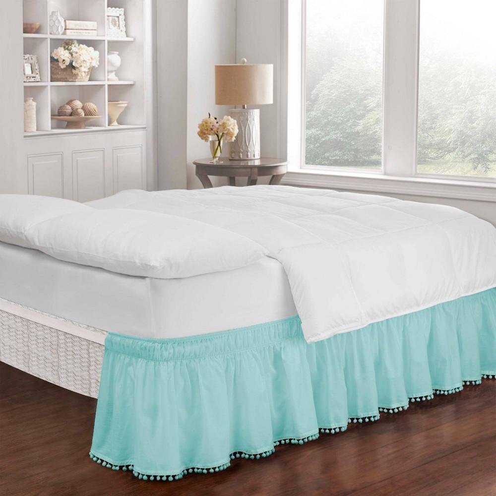 Image of Easy Fit Adjustable Pom Pom Fringe Twin/Full Bedskirt Angel Blue