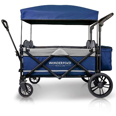 WONDERFOLD X4 Navy Multi-Function 4 Passenger Quad Push and Pull Folding Stroller Wagon, Adjustable Canopy, Double Seats with 5-Point Harness, Navy