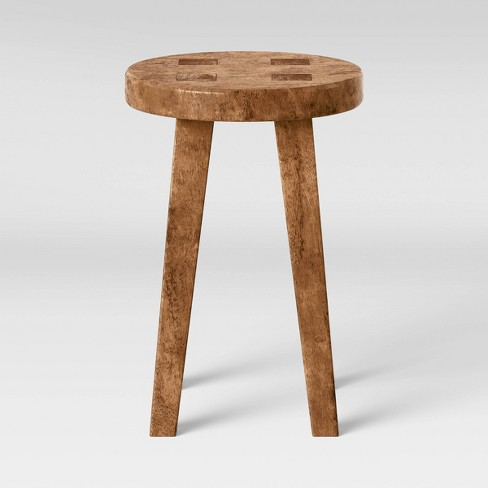 Woodland Short Carved Wood Table Brown - Threshold™ - image 1 of 4